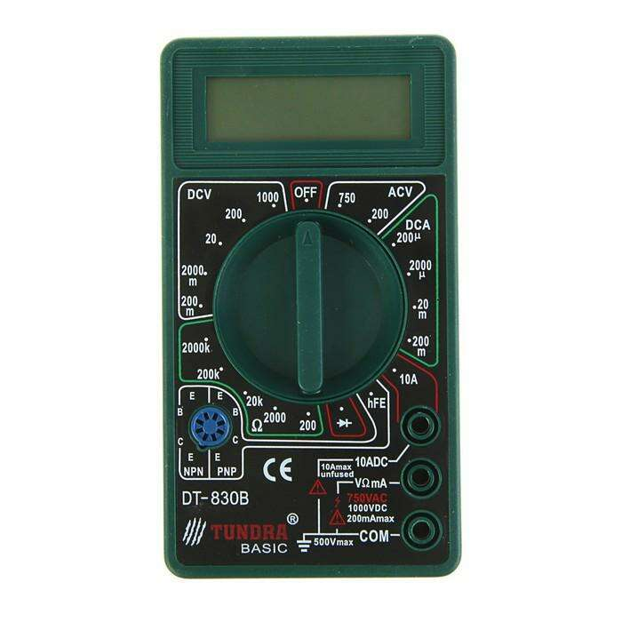 Мультиметр TUNDRA basic, DT-830B, ACV 200-750V, DCV 0.2-1000V, 0.2мА-200мА