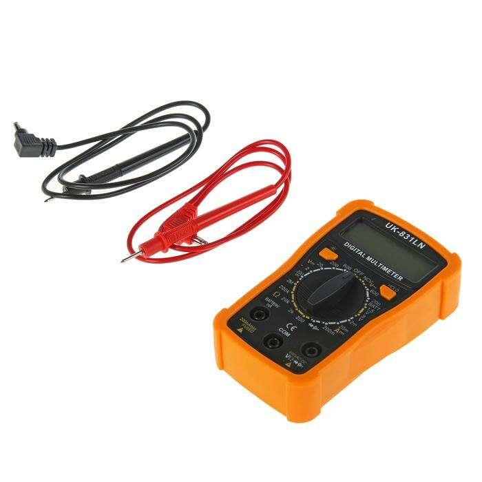 Мультиметр UK-831LN, ACV 200-600V, DCV 0.2-600V, 200-2МОм, 2-200мА, проверка батареек 1.5,9V