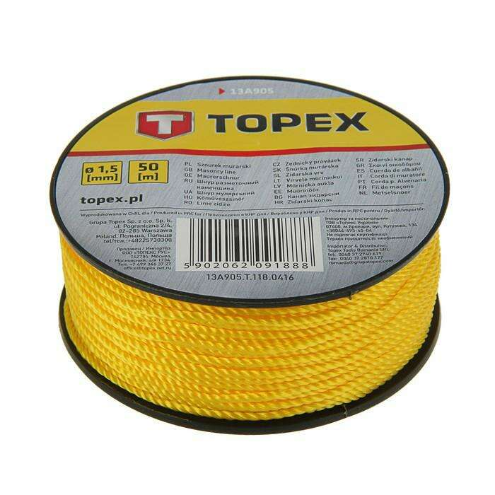 Шнур разметочный TOPEX, 1.5 мм, на катушке 50 м