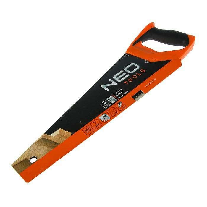 Ножовка по дереву NEO, 450 мм, 7TPI, 3D лазерная заточка, угольник, тефлоновое покрытие