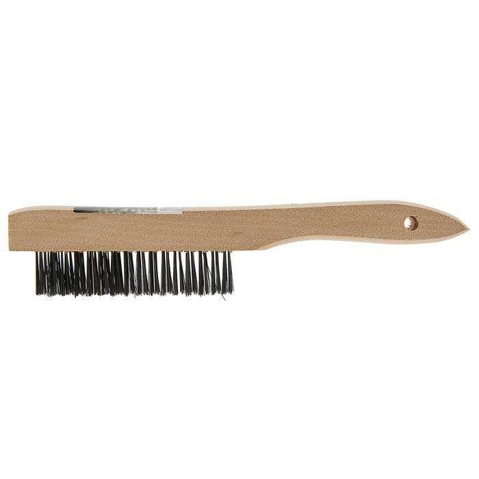 Щетка металлическая ручная TUNDRA basic, деревянная рукоятка, 4-рядная