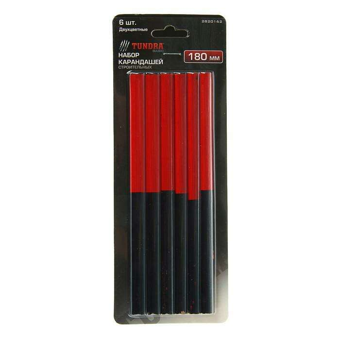Набор карандашей TUNDRA, 180 мм, двухцветные 6 шт.
