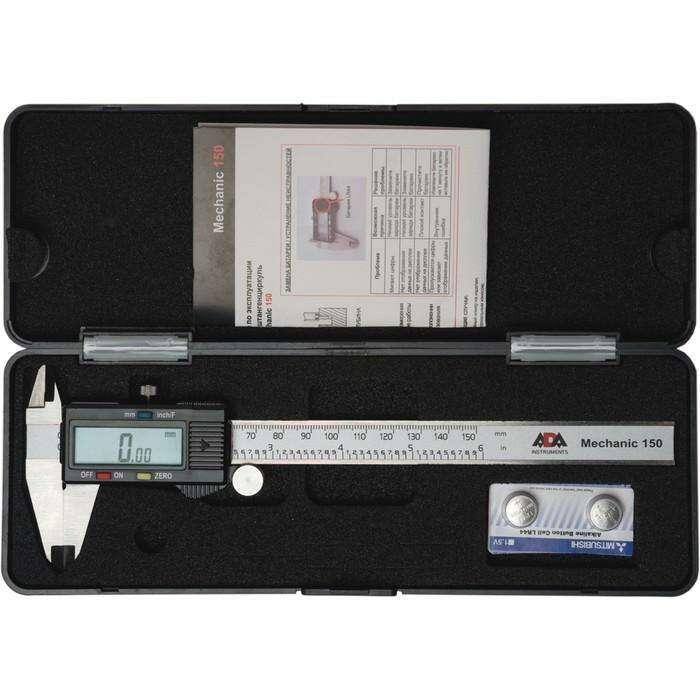 Штангенциркуль цифровой ADA Mechanic 150 А00379, 0-150 мм, разрешение 0.01 мм