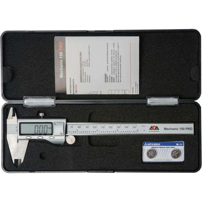 Штангенциркуль цифровой ADA Mechanic 150 PRO А00380, 0-150 мм, разрешение 0.01 мм