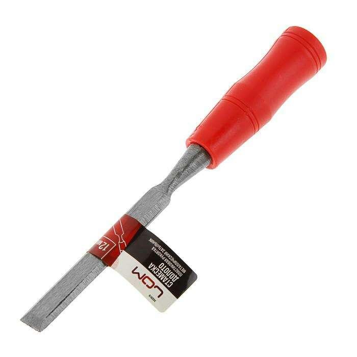Стамеска-долото LOM, пластиковая рукоятка, металлический затыльник, 12 мм