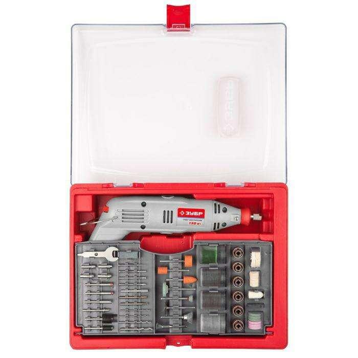 """Гравер """"ЗУБР"""" электрический, 130Вт, с набором мини-насадок в кейсе, 176 предметов"""
