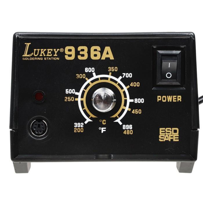Паяльник с регулировкой температуры LUKEY 936A, аналоговый, 50 Вт, 24 В, 200-480 °С, ±1 °C