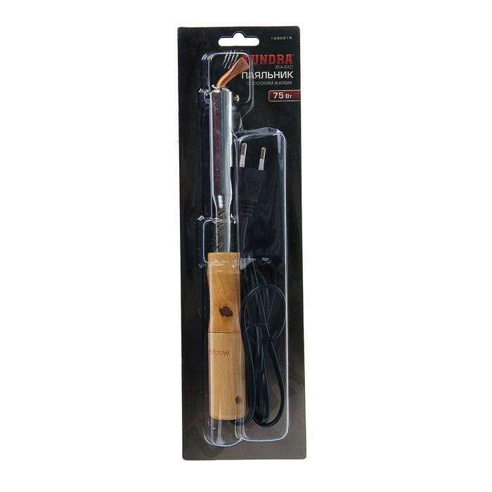 Паяльник TUNDRA basic, деревянная рукоятка, плоское жало, 75 Вт, 220 В