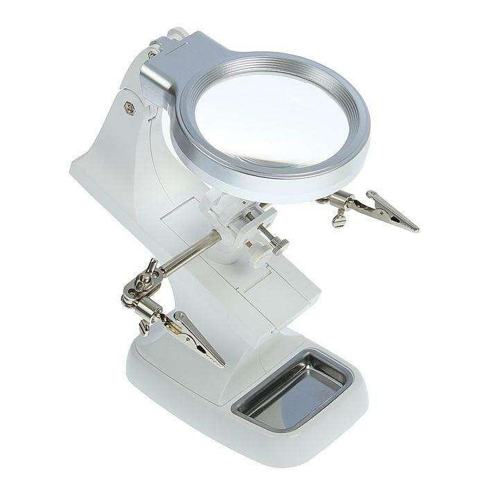 Третья рука для пайки (с зажимом) 2,5х; 5,5х d=20мм d=70мм от USB, LED (от 3ААА) 11*19см