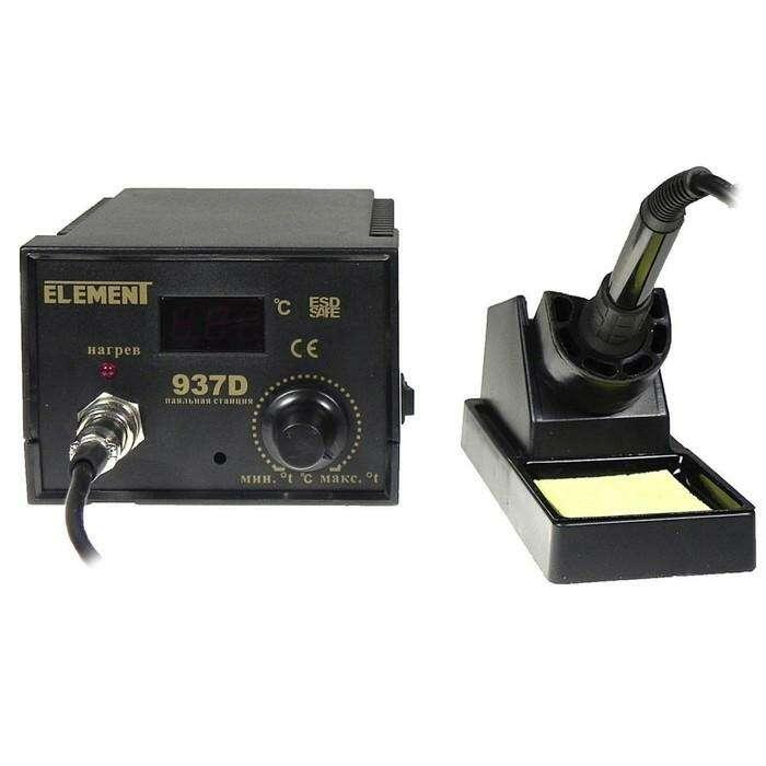 Паяльник с регулировкой температуры ELEMENT 937D, цифровой, 50 Вт, 24 В, 200-480 °С, ±2 ° C   415665