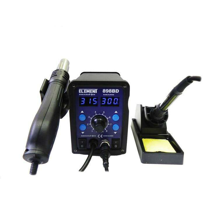 Паяльная станция ELEMENT 898BD, вентиляторная, цифровая, 700 Вт, 100-480 °С, фен/паяльник