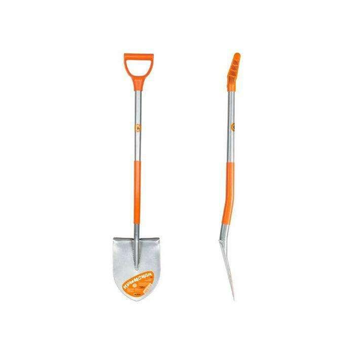 Лопата штыковая, острая, цельнометаллическая, черенок, с ручкой