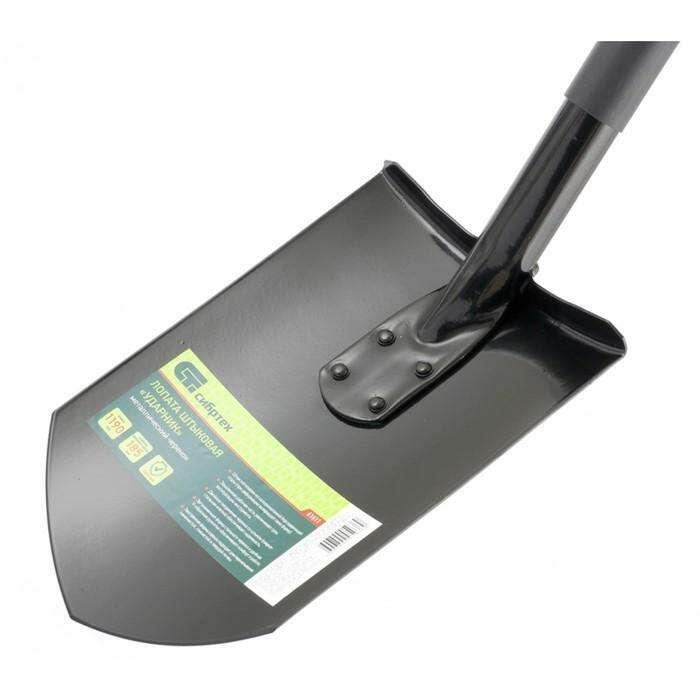 Лопата штыковая, острая, металлический черенок, с ручкой, «Сибиртех»