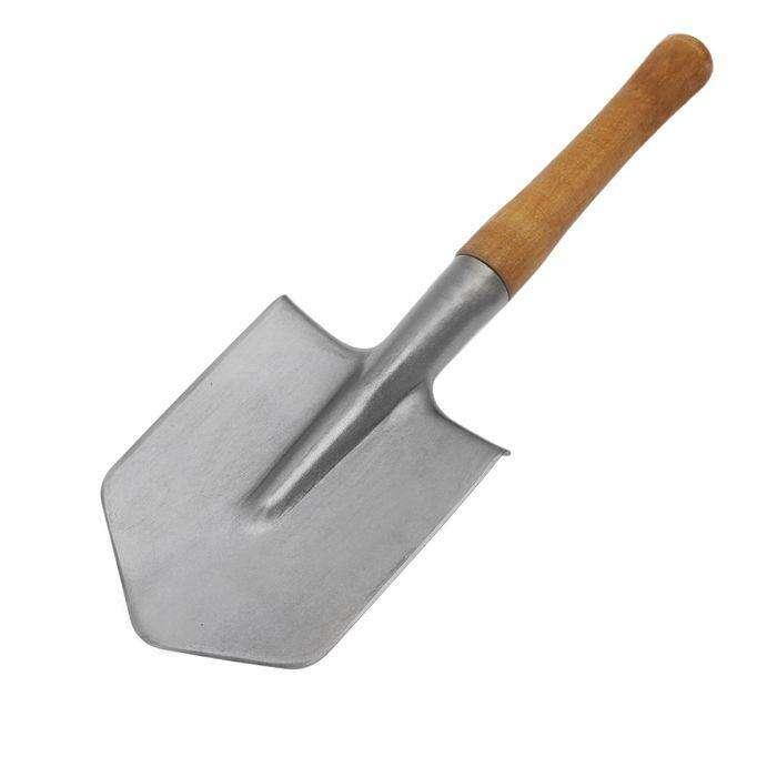 Лопата автомобильная, титан Ti ВСМПО, деревянный черенок, в чехле
