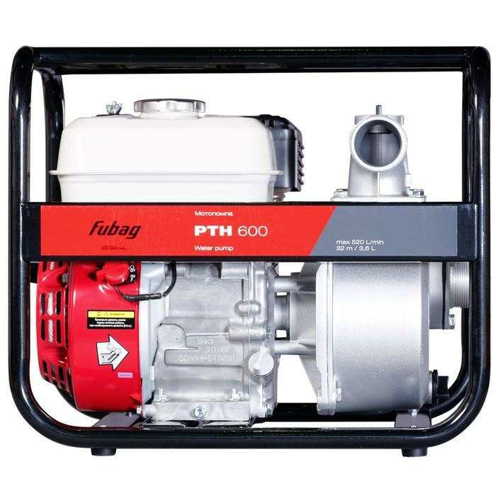 Мотопомпа Fubag PTH 600, бенз., для чистой  воды, 560 л/мин, 32м/8м, d=50 мм