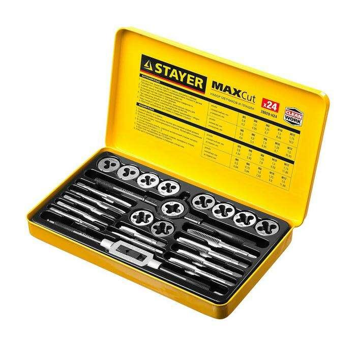 Набор метчиков и плашек STAYER Master, метчики 11шт, плашки 11 шт, 24 предмета