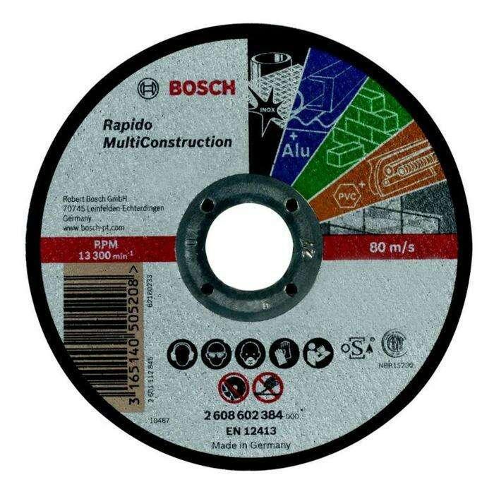 Круг отрезной по камню BOSCH 2608602383, Rapido Multi Construction, прямой, 125х1,6 мм