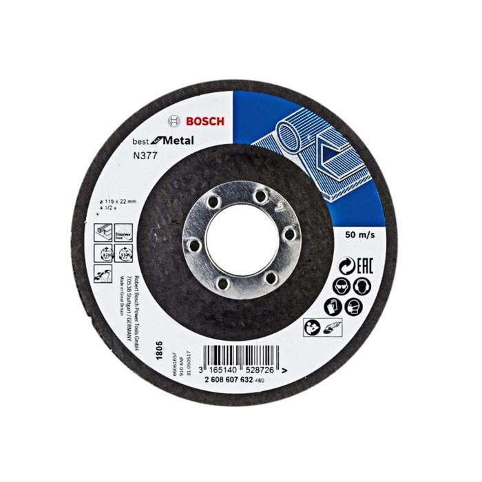 Круг шлифовальный Bosch 2608607632, по металлу, зачистной, 115х22.2 мм