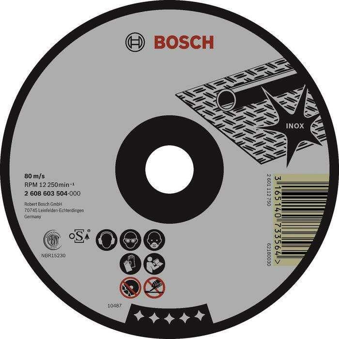 Круг отрезной по нержавейке BOSCH 2608603172, Standard for Inox, Rapido, прямой, 125х1,6 мм
