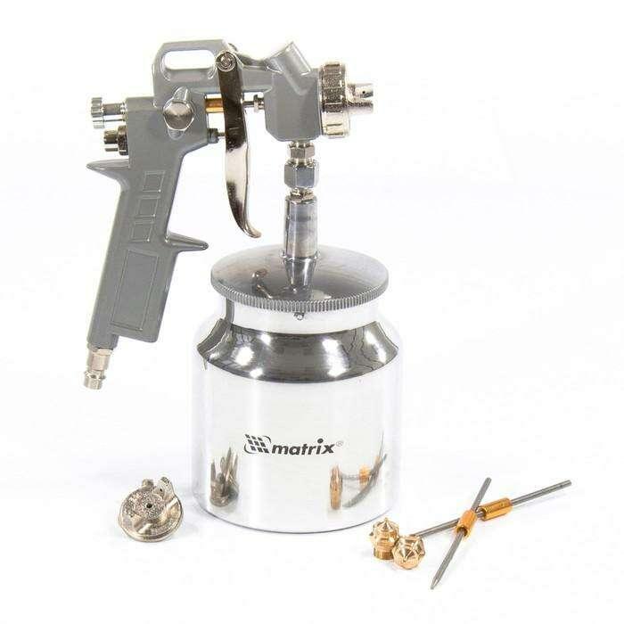 Краскораспылитель MATRIX, пневматический, с нижним бачком, 0,75 л, сопла 1,2/1,5/1,8 мм