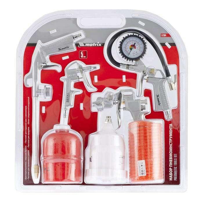 Набор пневмоинструментов MATRIX, 5 предметов, быстросъёмное соединение, с верхним бачком