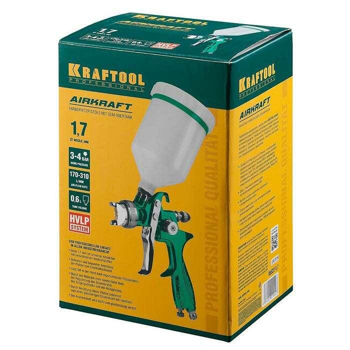 Краскопульт KRAFTOOL 06522-1.7 AirKraft, пневматический, HVLP, с верхним бачком, 1.7мм