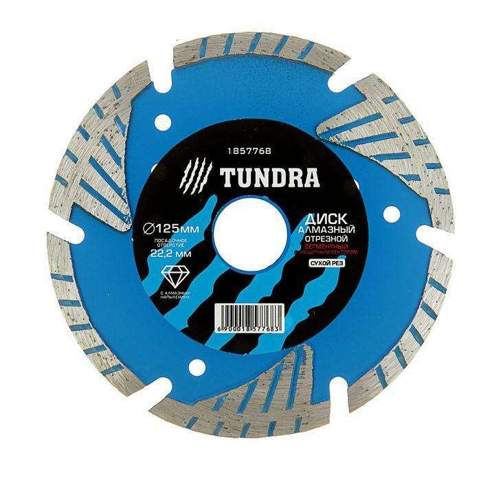 Диск алмазный отрезной TUNDRA basic, сегментный с защитными секторами, сухой рез, 125х22 мм