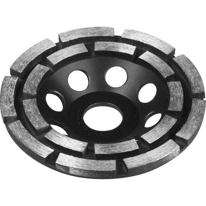 Чашка ЗУБР 33372-125, алмазная, сегментная, двухрядная, высота 22,2мм, 125 мм