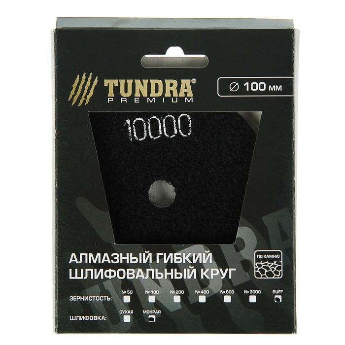 Алмазный гибкий шлифовальный круг TUNDRA premium, для мокрой шлифовки, 100 мм, BUFF черный