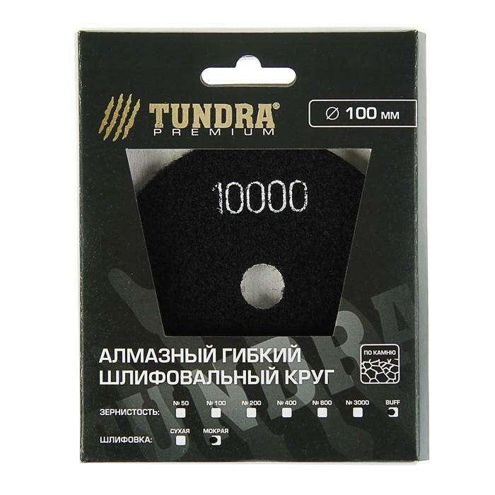 Алмазный гибкий шлифовальный круг TUNDRA premium, для мокрой шлифовки, 100 мм, BUFF белый