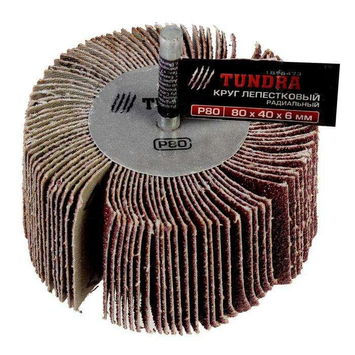Круг лепестковый радиальный TUNDRA basic, 80 х 40 х 6 мм, P80