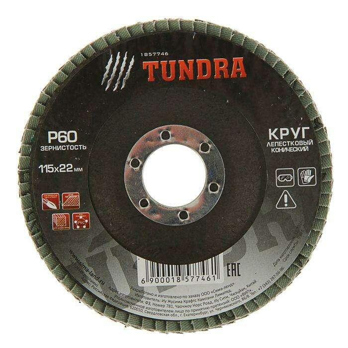 Круг лепестковый торцевой конический TUNDRA basic, 115 х 22 мм, Р60