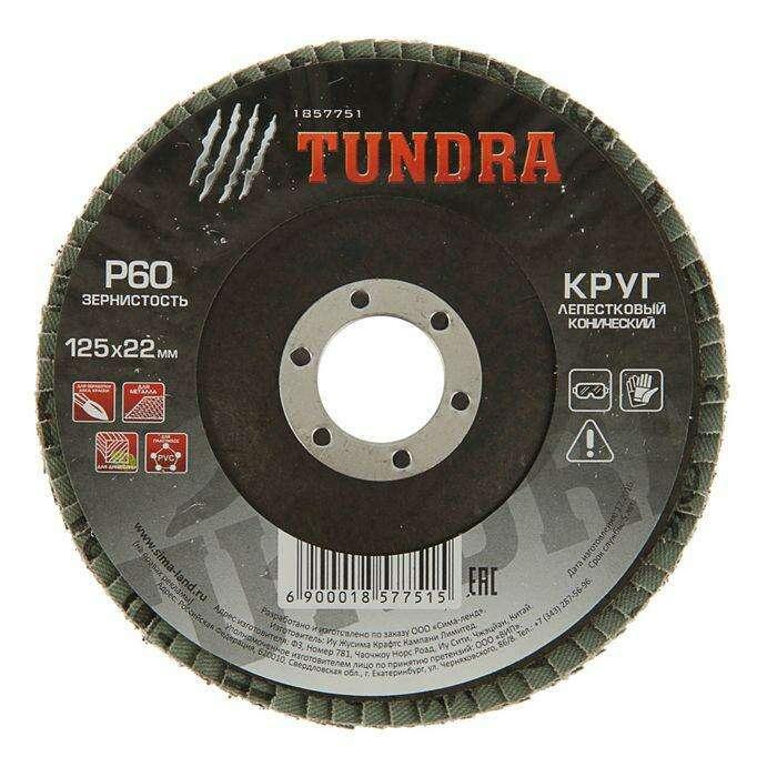 Круг лепестковый торцевой конический TUNDRA basic, 125 х 22 мм, Р60
