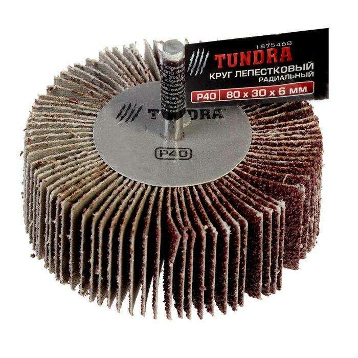 Круг лепестковый радиальный TUNDRA basic, 80 х 30 х 6 мм, P40