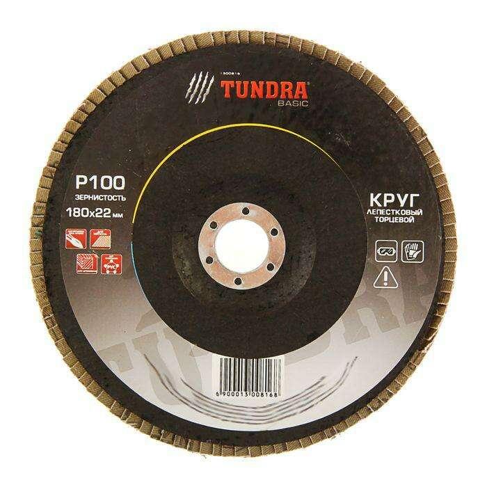 Круг лепестковый торцевой TUNDRA basic, 180 х 22 мм, Р100