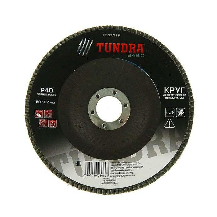 Круг лепестковый торцевой конический TUNDRA basic, 150 х 22 мм, Р40