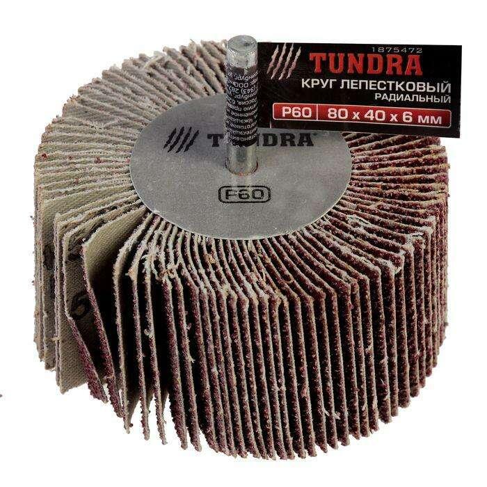 Круг лепестковый радиальный TUNDRA basic, 80 х 40 х 6 мм, P60