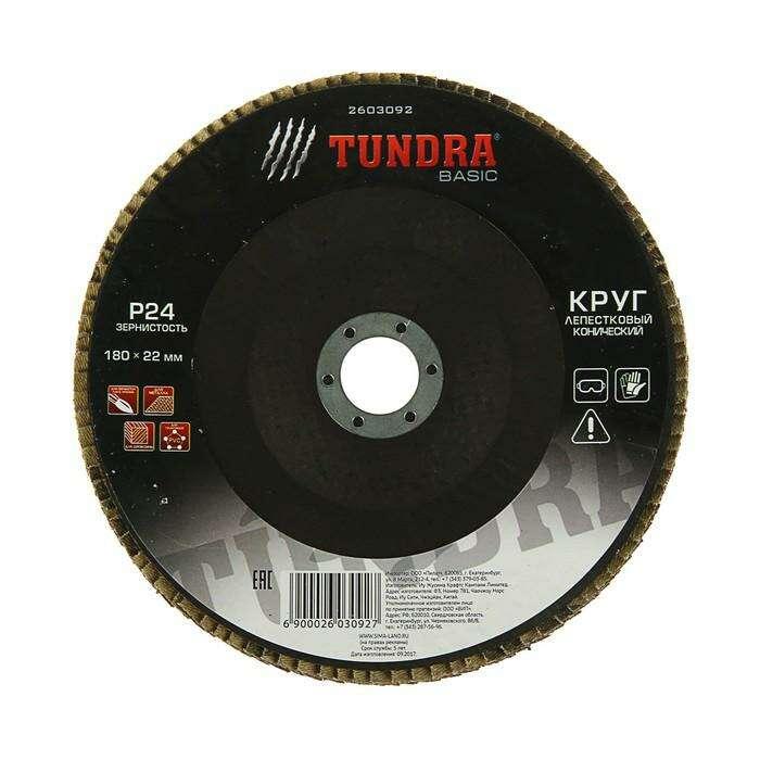 Круг лепестковый торцевой конический TUNDRA basic, 180 х 22 мм, Р24