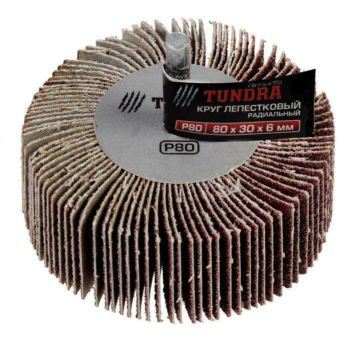 Круг лепестковый радиальный TUNDRA basic, 80 х 30 х 6 мм, P80