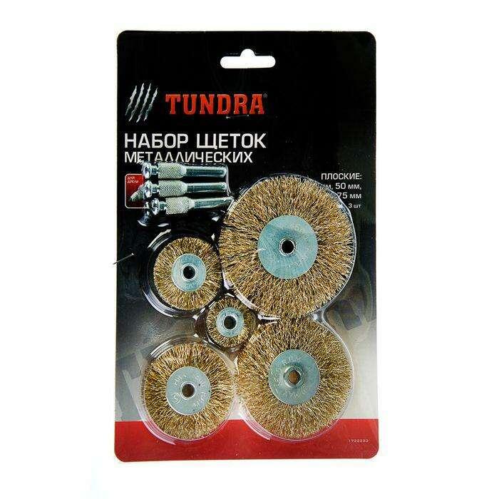 Набор щеток металлических для дрели TUNDRA basic, пл. 25-38-50-63-75 мм, 5 шт. + 3 шпильки