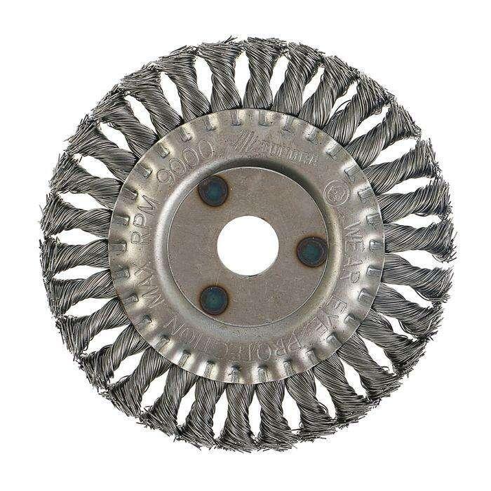 Щетка металлическая для УШМ TUNDRA basic, крученая проволока, плоская, 22 мм, 150 мм