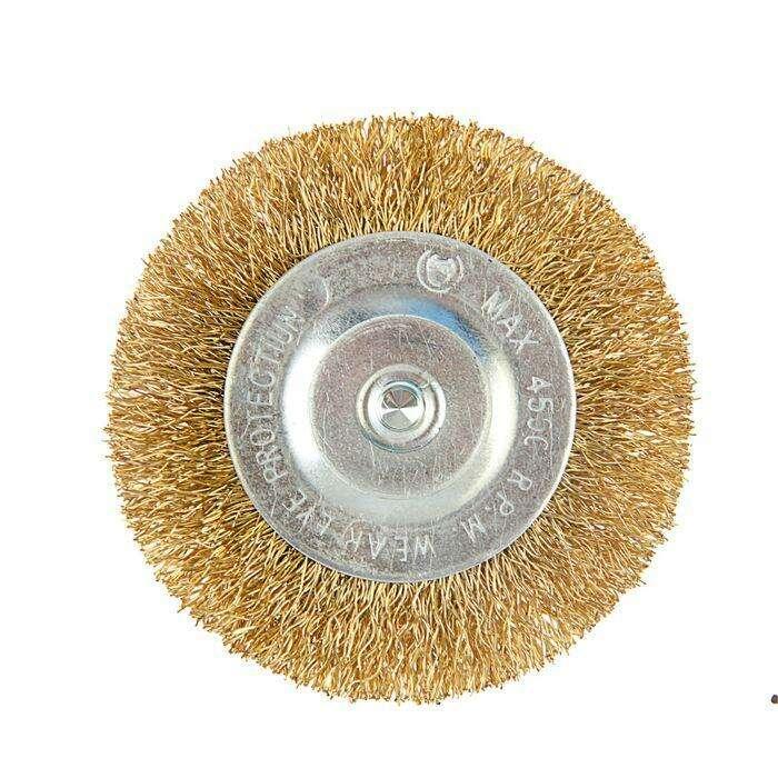 Щетка металлическая для дрели TUNDRA basic, со шпилькой, плоская, 75 мм