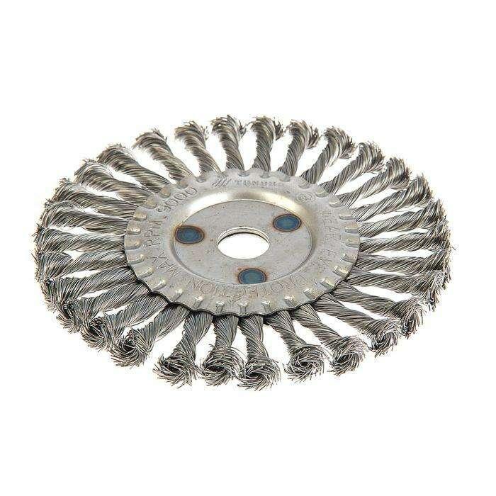 Щетка металлическая для УШМ TUNDRA basic, крученая проволока, плоская, 22 мм, 175 мм