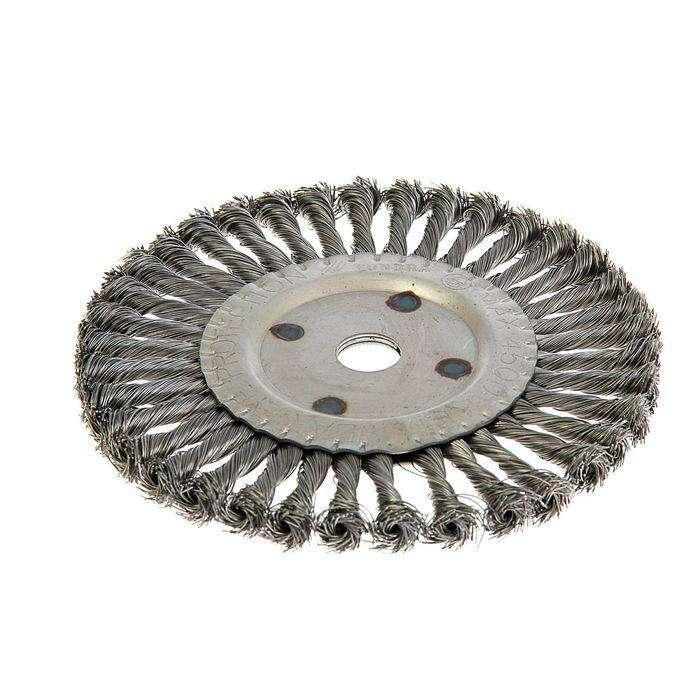 Щетка металлическая для УШМ TUNDRA basic, крученая проволока, плоская, 22 мм, 200 мм
