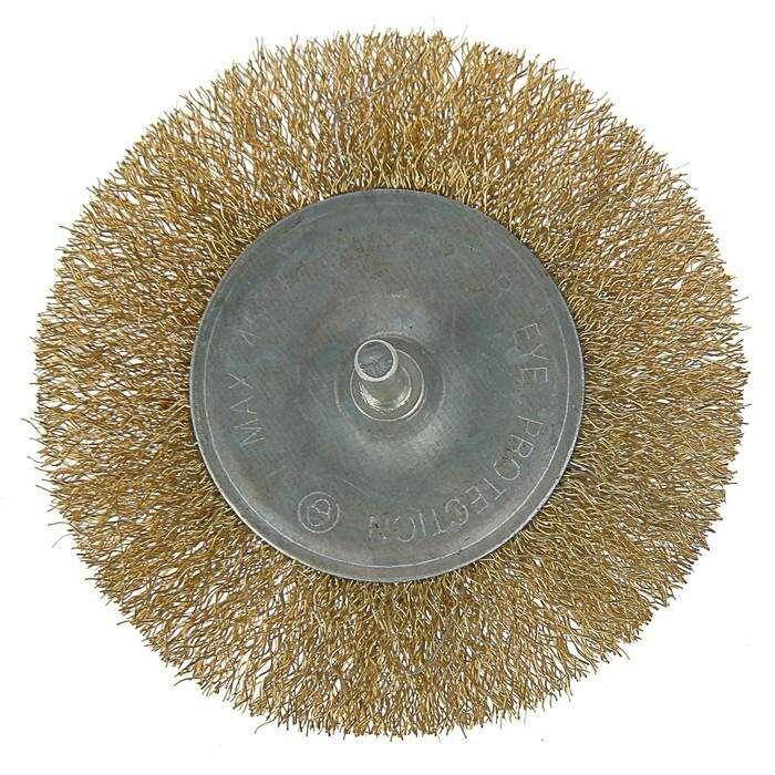 Щетка металлическая для дрели LOM, со шпилькой, плоская, 100 мм