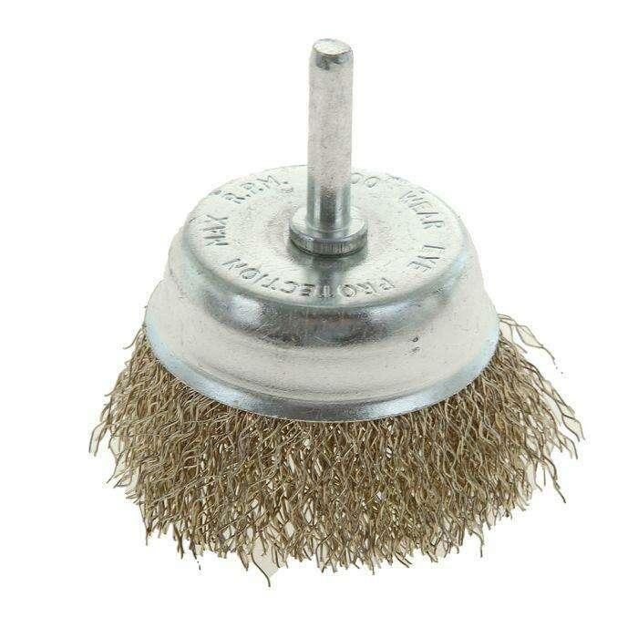 """Щетка металлическая для дрели TUNDRA basic, со шпилькой, """"чашка"""", 65 мм"""