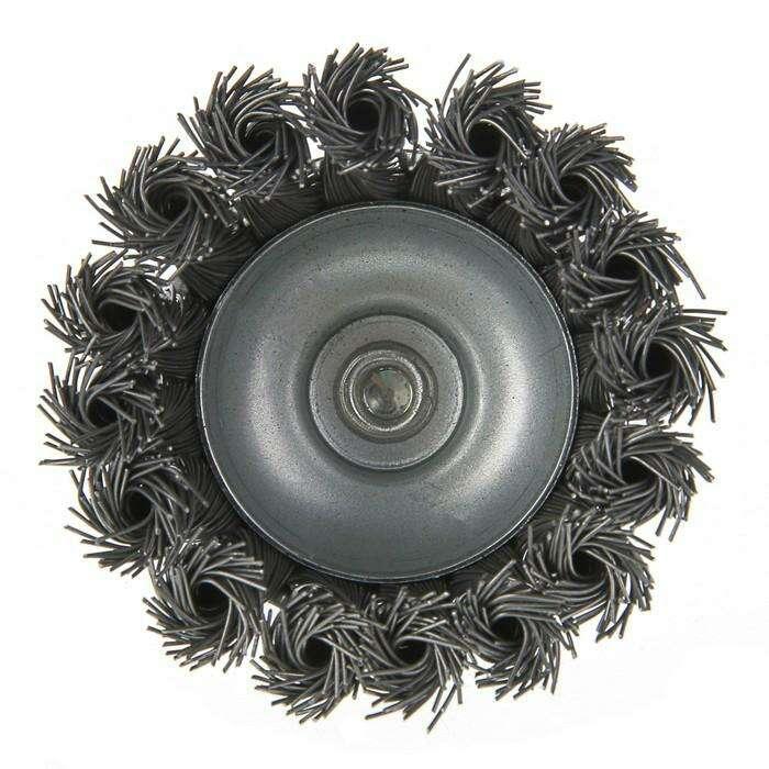 """Щетка металлическая для дрели LOM, со шпилькой, крученая проволока, """"чашка"""", 75 мм"""