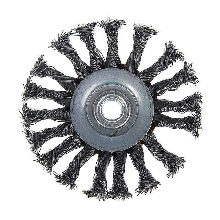 """Щетка металлическая для УШМ LOM, крученая проволока, """"тарелка"""", М14, 115 мм"""