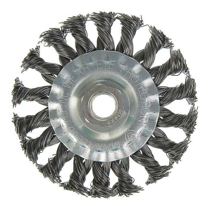Щетка металлическая для УШМ TUNDRA basic, крученая проволока, плоская, М14, 100 мм