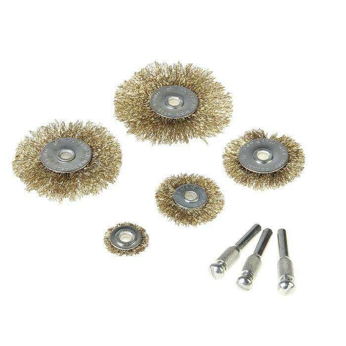 Набор щеток-крацовок со шпилькой для дрели Hobbi 5 предметов
